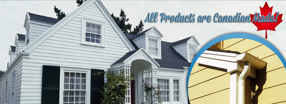 All Products are Canadian Made! Residential home and close up of gutters